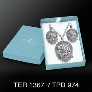 Courtney Davis Tree of Life .925 Sterling Silver Boxed Set Earrings Pendant