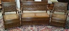 3 Pc.Antique Italian Carved Oak Bench and Chairs Carved w Cane Bottoms