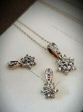 10K YELLOW WHITE GOLD DIAMOND FLOWER CLUSTER NECKLACE & EARRING SET HALLMARKED