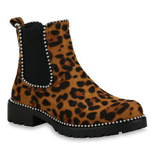 Damen Stiefeletten Chelsea Boots Gefütterte Prints Booties 825073 Schuhe