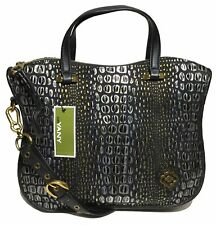 NWT orYANY Woman's Leather Satchel, Embossed Black/Gold  Adjustable Strap $489.0