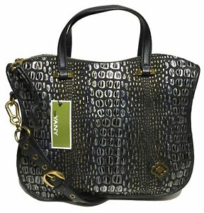 NWT orYANY Woman's Leather Satchel, Embossed Black/Gold  Adjustable Strap $489
