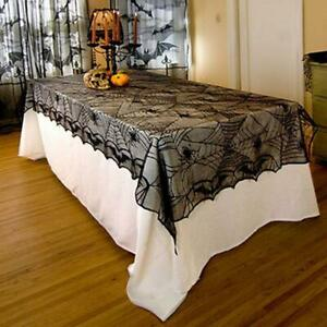 """Spider Web Tablecloth  Halloween Decorations  48"""" x 96"""" Rectangle Gothic Lace"""