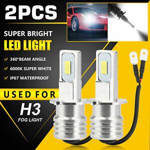 2PCS 100W H3 LED Fog Driving Light Bulbs Conversion Kit Super Bright DRL White