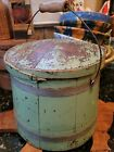 Antique Firkin Painted Wooden Original Apple Green Dry Paint Lid Bail Handle