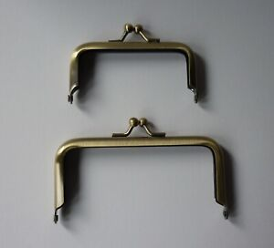 2 metal purse frames with kiss clasp lock, antique, 10cm and 7.5cm wide, glue in