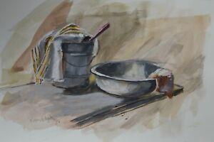 """Enamelware Basin"" - Jeffrey Randolph Bond - Gouache on paper 7.5x11"