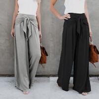 Women's Ladies Palazzo Plain Flared Wide Leg Long Pants leggings Baggy Trousers