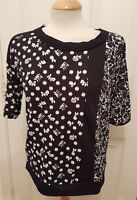 ladies NEXT black white print top size 8 stretch