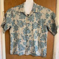 Reyn Spooner Hawaiian Shirt 100% Linen Textured Tan Teal Blue Size Large Floral