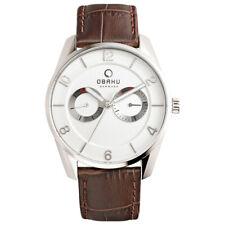 Obaku Flint Men's Multidial Watch With Brown Leather Strap V171GMCIRN
