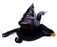 Eagle Black, Figurine, Blown Glass Art Ornament. Made in Russia
