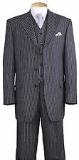 Men's Pinstripe 3-Button Luxurious Wool Feel Suit w/ Pants and Vest 5802V7