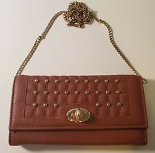 Rustic Brown/ Gold Ladies hand/shoulder purse--soft leather- long gold chain