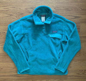Patagonia Women's Re-Tool Snap-T Fleece Pullover Teal Blue Large L