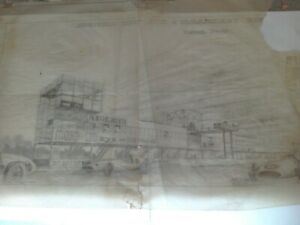 OULTON PARK RACE CIRCUIT DRAWING PROPOSED NEW PITS COMMENTARY BOX 1960 ORIGINAL