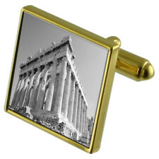 Greece Roman Parthenon Gold-Tone Cufflinks Crystal Tie Clip Gift Set