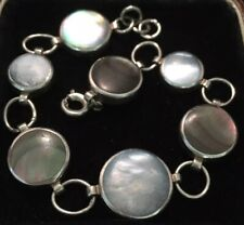 mother of pearl links bracelet vintage jewellery lovely sterling silver and