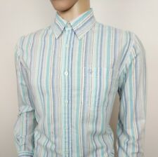 Aigle Mens Linen Cotton Shirt Blue White Stripe Size M 39/40 New RRP£115