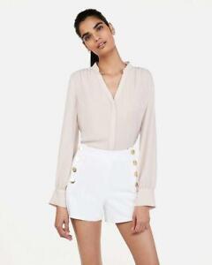 NWT EXPRESS high rise gold button sailor trouser shorts 0 2 4 white