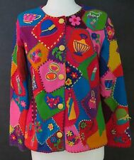 Women's Michael Simon Funky Button Cardigan Sweater M Lipstick Nail Polish Purse