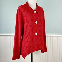 SIZE PL Andria Lieu Red Semi Sheer Cardigan Sweater Jacket NWT Petite Large LP