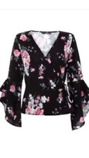 Quiz Black/Pink Crepe Flower Print Frill Sleeve Tie Wrap Over Top (UK 10) BNWT