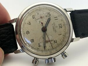 1950's BREITLING Chronograph 37.5mm ORIGINAL MILITARY DIAL MANUAL WIND RUNS