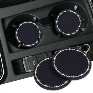 2Pcs Car Auto Bling Rhinestone Cup Holder Anti-Slip Insert Coaster Accessories
