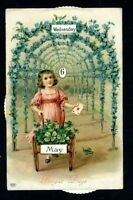 Victorian Girl with Flowers~ Antique Mechanical Calendar~ Greeting Postcard-a-66
