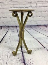 "Brass Spike Candle Holder Footed Decorative - 8"" Tall x 4.25"" Across Top"