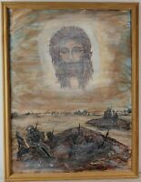 "Vintage Oil Painting on Canvas ""The Sorrowful"" Framed Art Decor (26"" x 20"")"