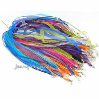 5-100 Mixed Lobster Clasp Organza Ribbon Waxed Cord String Necklace Making 48cm