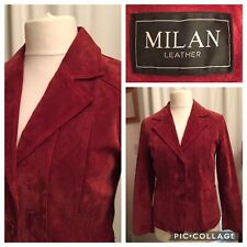 Ladies 12 Red Milan Leather Suede Fitted Jacket Pockets