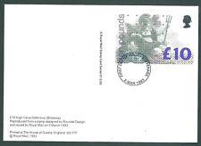 GB 1993 £10 Britannia PHQ card Stevenage First Day Postmark on back