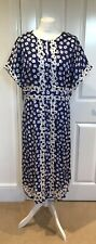 Boden Stunning Blue white spot long dress Uk size 14R