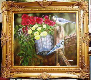 "BLUE JAY BIRD STAND ON GARDEN FLOWER FENCE 24"" oil painting decor art gift S54"