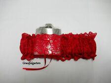 Plus Dark Red Lace Hipflask Bridal Wedding Garter Set. Hip flask garter