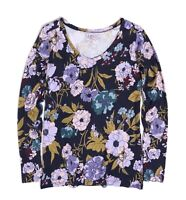 LOFT Outlet - Women's M - NWT - Navy/Multi Retro Floral Long Sleeve Tee