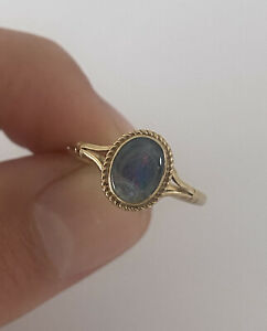 9ct Gold Black Fiery Opal Doublet Vintage Ring RBS