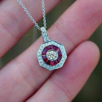 Certified Art Deco 1.61ct Round Diamond & Ruby Pendant in Solid 14k White Gold