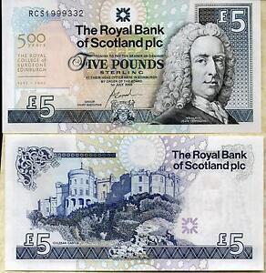 2005 The Royal Bank of Scotland plc £5  Royal College Surgeon banknote A/UNC