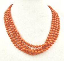 Necklace Coral Orange Red Beads Single Row 93 inch 7mm Sterling Gold Clasp Japan
