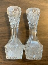 2 Vtg Cut Glass Crystal Pair Small Decorative Vases Toothpick Holder