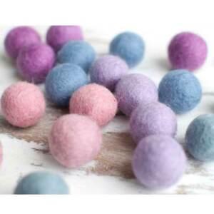 1cm Felt Balls x100 PASTEL Pink Purple. Wool Pom poms DIY Craft Beads Cloud Den