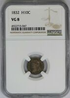 1832 NGC H10C Silver Capped Bust Half Dime VG8 Very Good US Coin