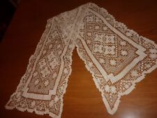 Antique Irish Crochet Ecru Lace Dresser Scarf Flowers 21x45 Beautiful (D8 70)