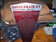 DAVID BRADLEY TRI-TRAC REPACEMENT STICKER FOR IDENTIFICATION PLATE