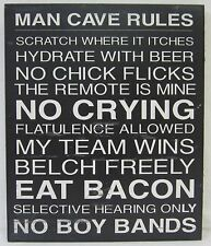 Novelty Funny Wall Sign,  Man Cave Rules Flatulence Allowed, The Remote is Mine