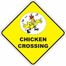 CHICKEN NOVELTY CROSSING SIGN 16 X16 INCH POLY
